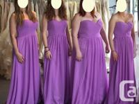 We have 8 long, strapless bridesmaid dresses with