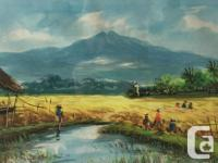Watercolor showing a blue stream, people working,