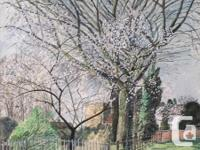 Blossoming Trees with Residential Buildings and Picket