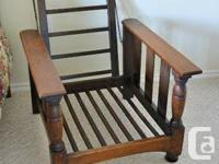 BEAUTIFUL OAK STRUCTURE, RE UPHOLSTERED CUSHIONS, CLEAN