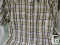White and brown plaid short sleeve shirt with snap