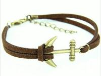 Handmade Bronze Anchor Brown Leather Velvet Rope