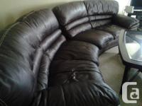L-Shaped Chocolate brown leather couch set and coffee