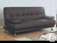Brown Leather Look Click Clack Futon This stylish and