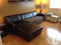 Espresso brown bonded leather sofa with chaise,