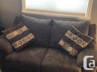 """Brown microfibre couch & loveseat Couch: 84"""" W x 34"""" D"""