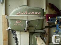 Johnson Seahorse 51/2 HP outboard electric motor, runs