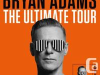 2 side by side tickets for Bryan Adams, June 5 at the
