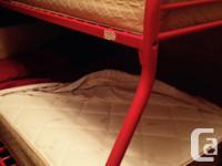 Metal bunk bed, single on top, double on bottom, c/w