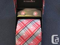 Burberry Men's ties 100% Silk With Handkerchief,Cuff