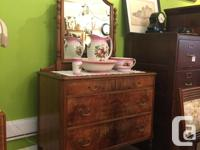 Vintage four drawer burled walnut dresser with mirror