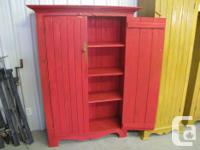Armoire Customizeded Strong Pine- Milk Paint- RED.