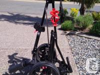 Light weight folding Caddytek 3 wheel push cart in