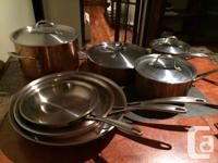 Calphalon tri-ply copper cookware set for sale. Very