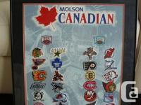 Beautifully Framed Molson Canadian Hockey Badge