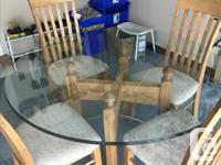 Includes Triple Edged Beveled Glass top and 4 Chairs.