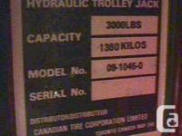 FOR SALE THIS OLDER CANADIAN TIRE HYDRAULIC TROLLEY