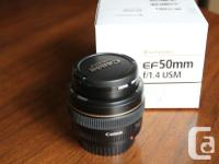A Canon 50 mm 1.4 lens - extremely fast, crisp,
