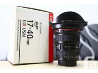 Canon EF 17-40 f/4L USM Like New. Consists of original