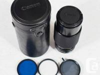 Canon FD 70-210mm F4 Maco Zoom Lens. I have adapters