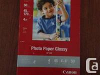 """BRAND NEW Canon picture paper, glossy. 4""""x6"""" sheets. 50"""