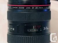 CANON ZOOM EF 24-70mm F 1:2.8 L USM L LENS. USED,