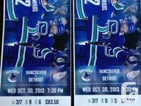 VANCOUVER CANUCKS vs DETROIT RED WINGS on Oct. 30,