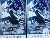 VANCOUVER CANUCKS VS SAN JOSE SHARKS - Nov. 14, 2013