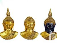 These fine quality gold leaf hand-carved wooden Buddha