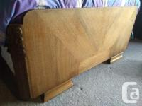 5 piece carved oak bedroom suite: Queen size bed frame for sale  British Columbia