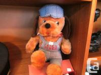 Vintage PLUSH DOG dressed as Train Conductor, Casey