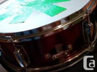 Shiny red CB snare drum (needs new skin) and carrying
