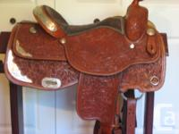 "Champ Grass show saddle, 16"" seat, very comfy cushioned"