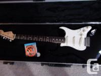 Marketing an American common stratocaster. Black with a