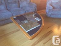 "Scan Concept Teak Stone Inlaid Coffee Table 45"" W x 16"""