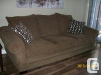 Downsizing 2.5 year old Chenille 3 Seater Couch. Brown