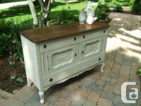 This charming oak vintage buffet is a solid Knechtel