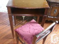 BEAUTIFUL OLD CHILD'S DESK COMPLETE WITH BURGANDY