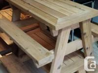 Qualiy built, cedar, child size tables. Variety of