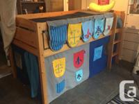 Solid pine (clear finish) loft bed in good condition.