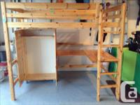 Solid wood loft bed with wardrobe and desk for sale in