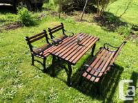 Beautiful cast iron children's picnic table with
