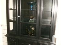 Large 2 piece display cabinet. Lighted glass shelves