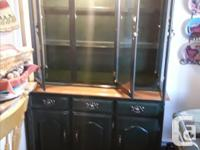 China cabinet solid wood,comes apart in two pieces for