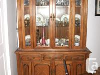 """Large solid hardwood china cabinet Stands 84"""" high, 60"""""""