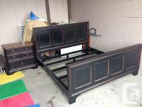 Distressed Black Bed Frame and night stand I have box