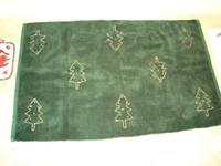 Christmas Green w/ Trees Entrance Mat -w/ bonus towel &