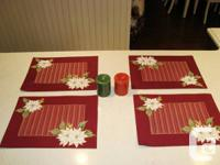 Christmas Set of 4 Dual Sided Cotton Placemats and 2