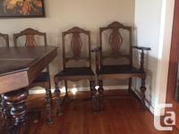 Dining room set. Chairs and table legs are in very nice
