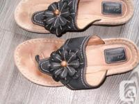 clark's artisan leather thong shoes bendable ,$20.00